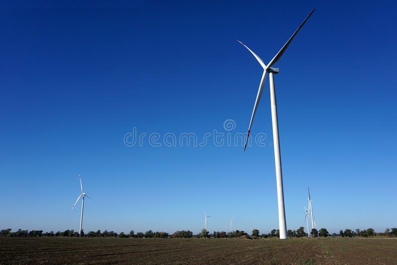 Eco力量,有天空蔚蓝的风轮机 供选择的电的风轮机 有能承受的eco的可更新的电农场 库存照片