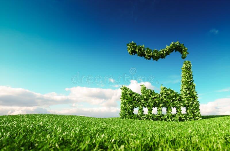 Eco友好的产业概念 3d绿色工厂ico翻译  库存例证