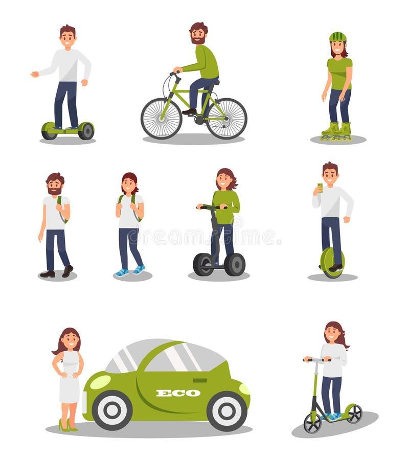 Eco友好的供选择的运输车集合,乘坐现代电车,滑行车,自行车的人们, segway 皇族释放例证