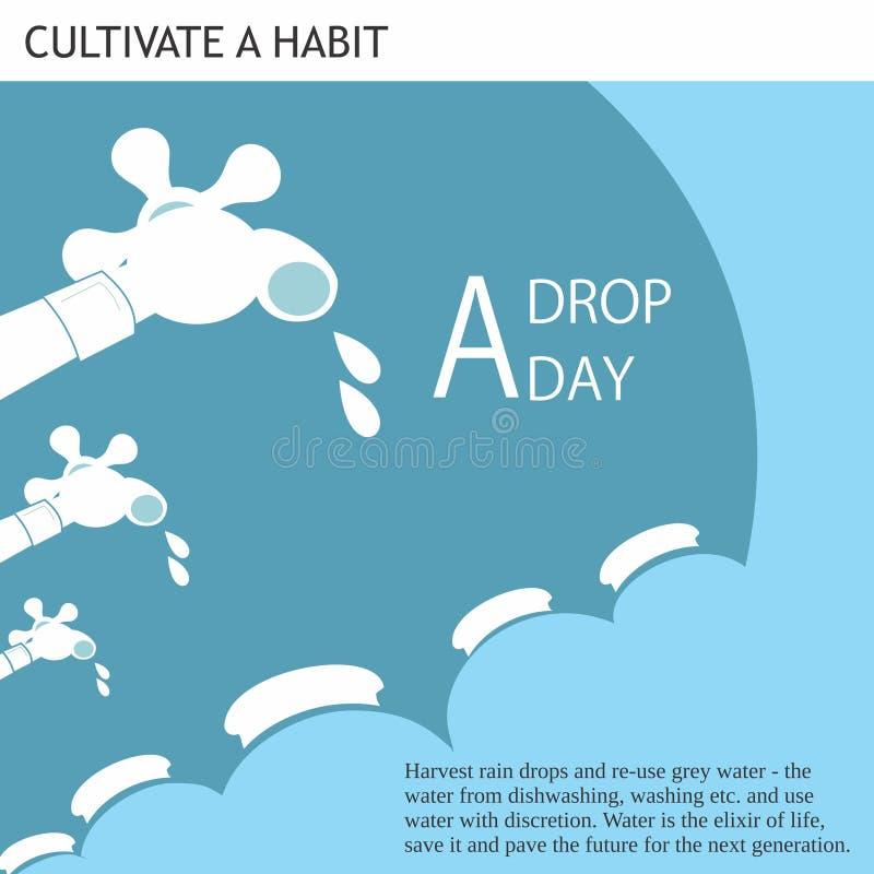 Eco友好的想法A下落每天 库存例证