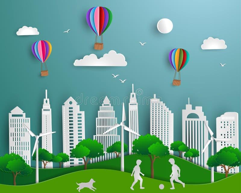 eco友好的救球的概念世界和环境,纸艺术场面背景 皇族释放例证