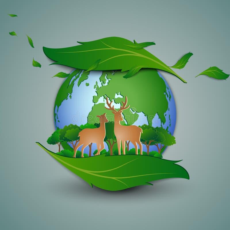 eco友好的救球的概念环境保护,站立在叶子形状摘要背景的鹿家庭 皇族释放例证