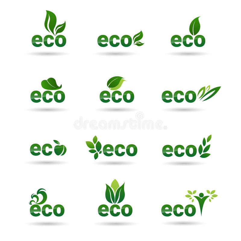 Eco友好的有机自然产品网象集合绿色商标收藏 库存例证