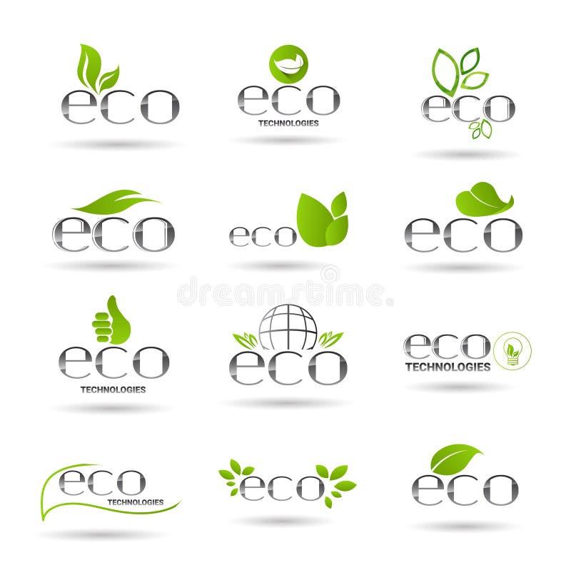 Eco友好的有机自然产品网象集合绿色商标 库存例证