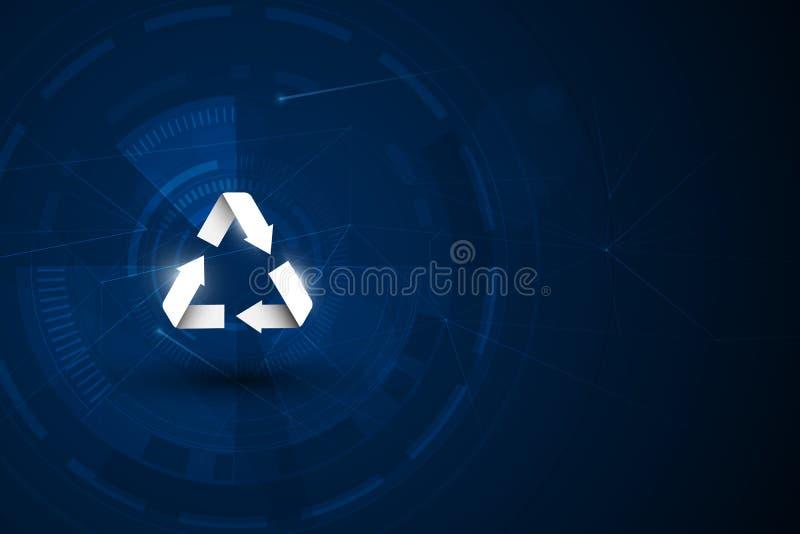 Eco友好的生态创造性的概念与回收标志 在未来创新纹理背景图形设计的Eco海报 库存例证