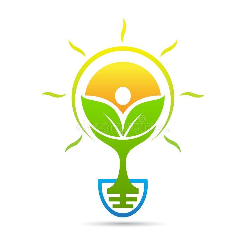 Eco友好的绿色想法电灯泡商标 向量例证