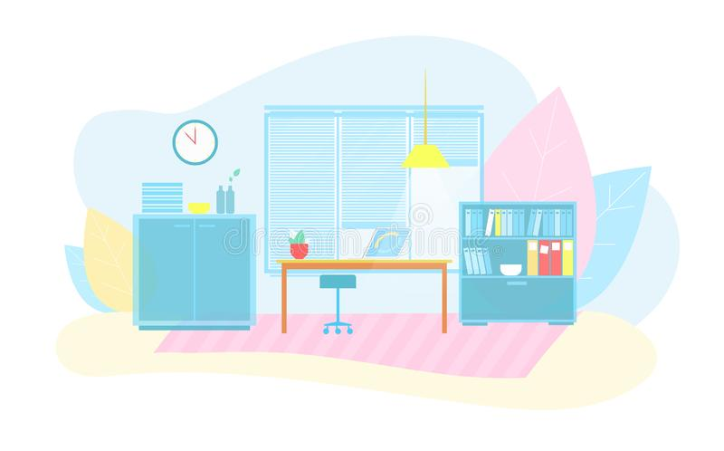 Eco友好的聪明的办公室内部平的动画片 库存例证