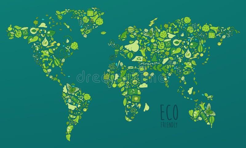Eco友好的集合,救球地球概念 皇族释放例证