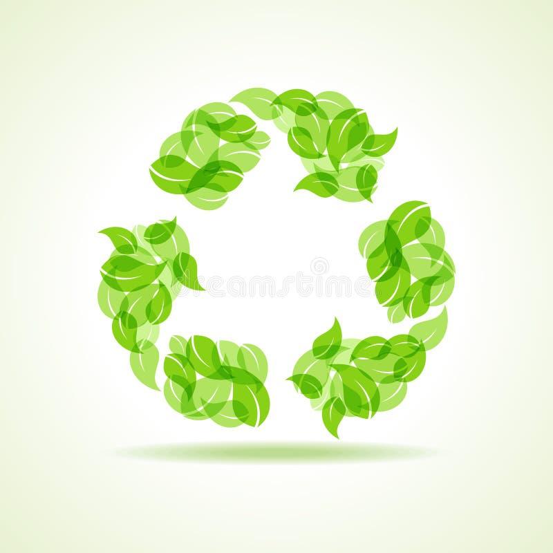 Eco叶子做一个回收象 库存例证