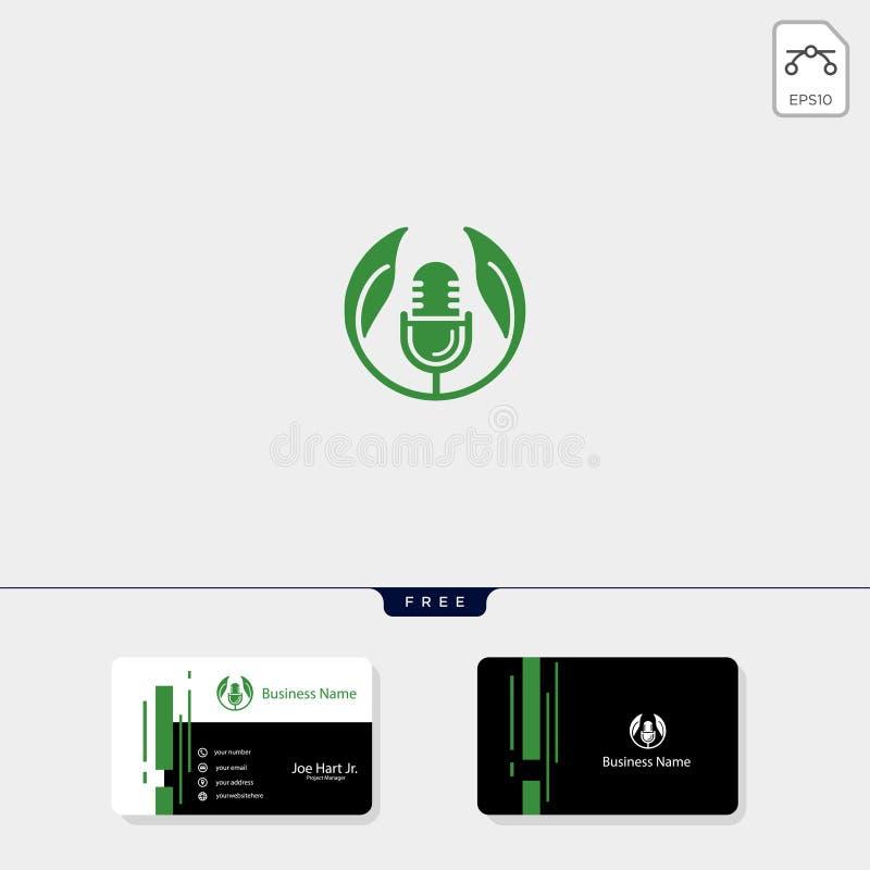 eco叶子播客商标模板传染媒介例证,得到自由名片设计模板 皇族释放例证