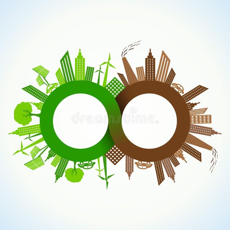 Eco和被污染的城市在无限标志附近 库存例证