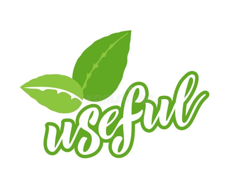 Eco商标,有用的素食标签徽章与象,字法的 库存例证