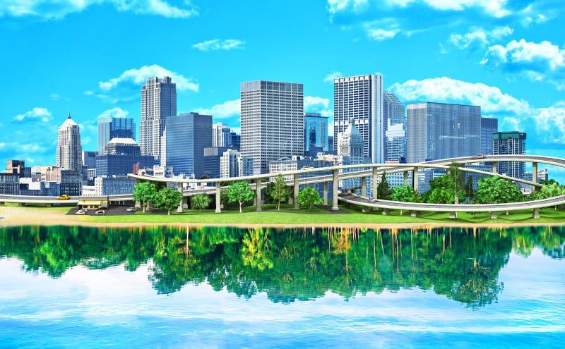 eco城市的概念 城市在水中被反射 向量例证