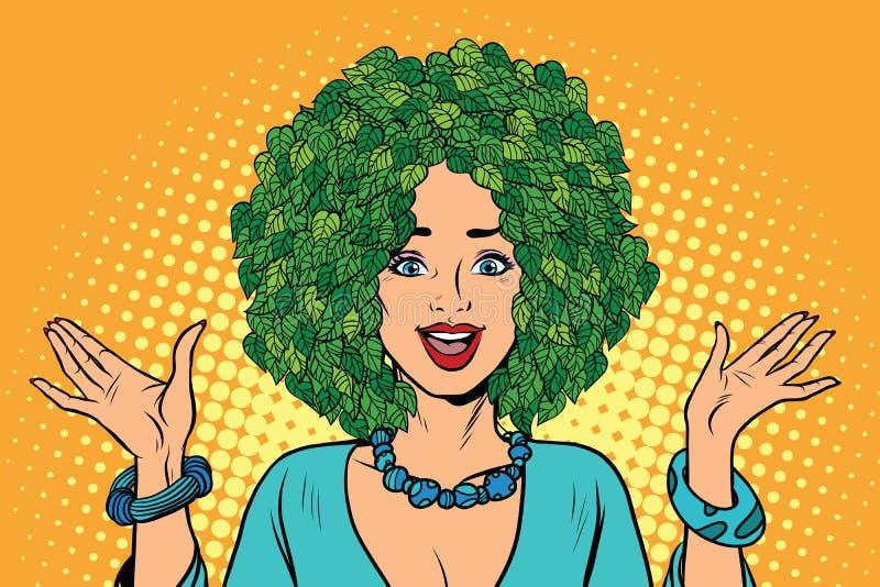 Eco妇女头发绿色植物自然 库存例证