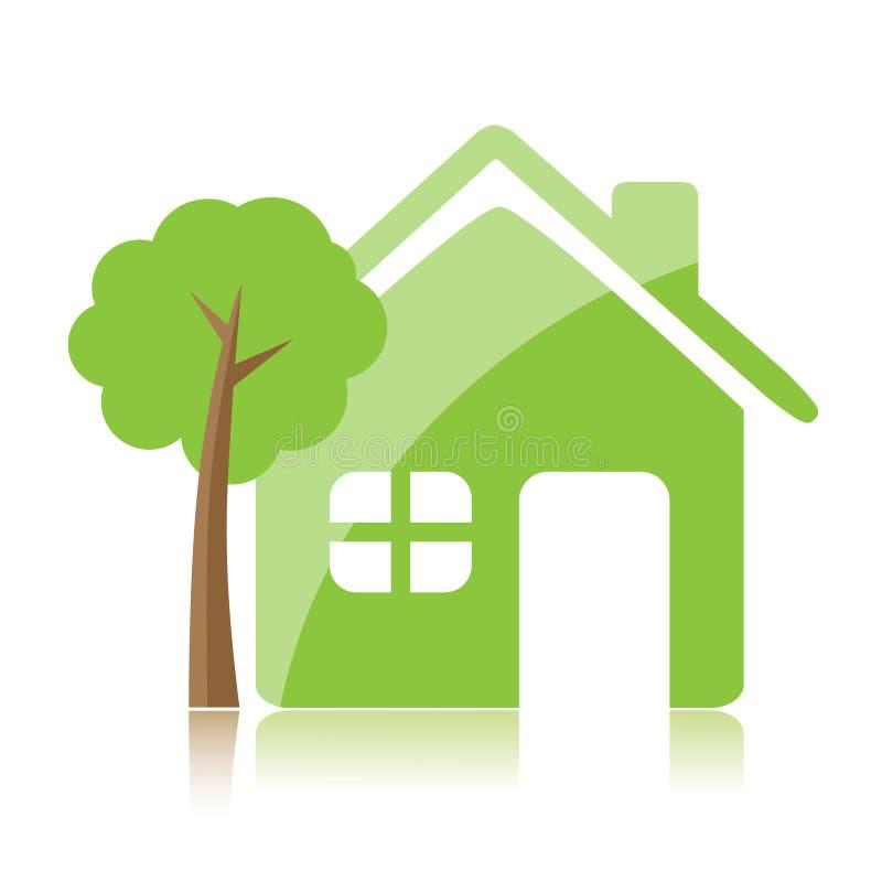 eco家庭图标 向量例证