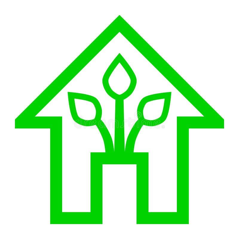Eco家的绿色家庭象-绿色概述,被隔绝-传染媒介 向量例证