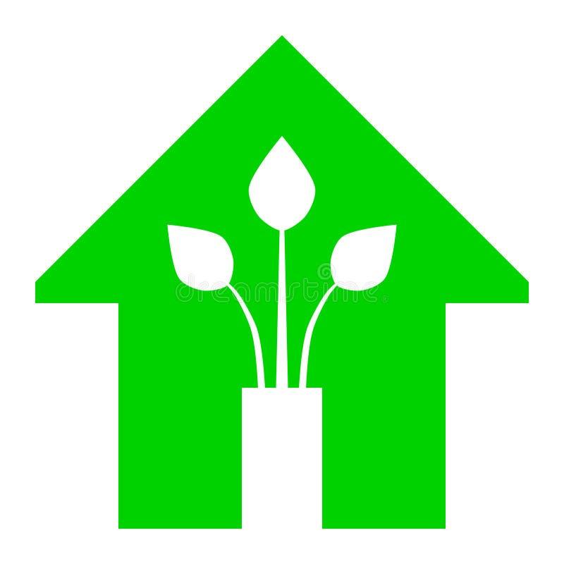 Eco家的绿色家庭象-绿色,隔绝-传染媒介 皇族释放例证