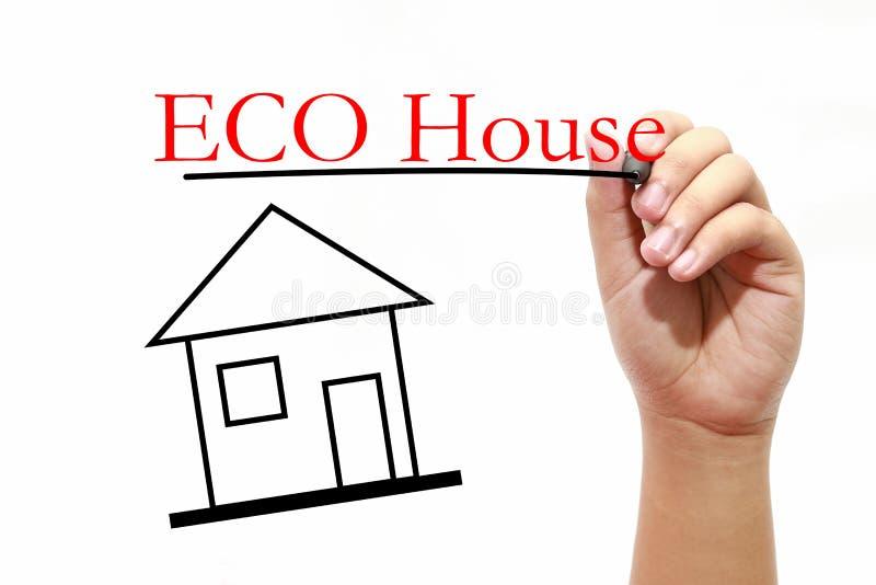 ECO家的议院用有笔的文本和男性手 免版税库存照片