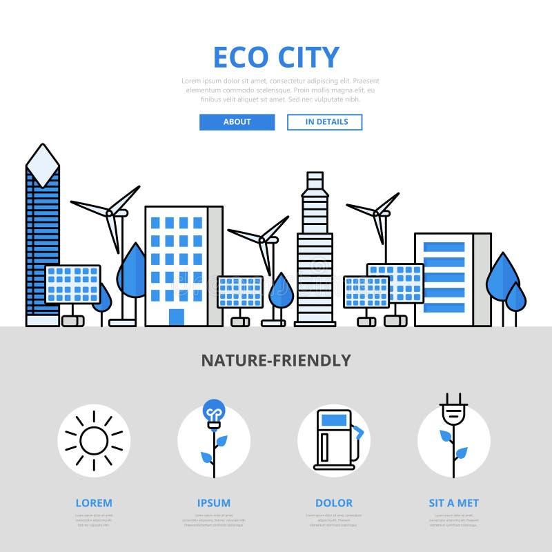Eco市自然友好的生态平的线艺术传染媒介象 库存例证