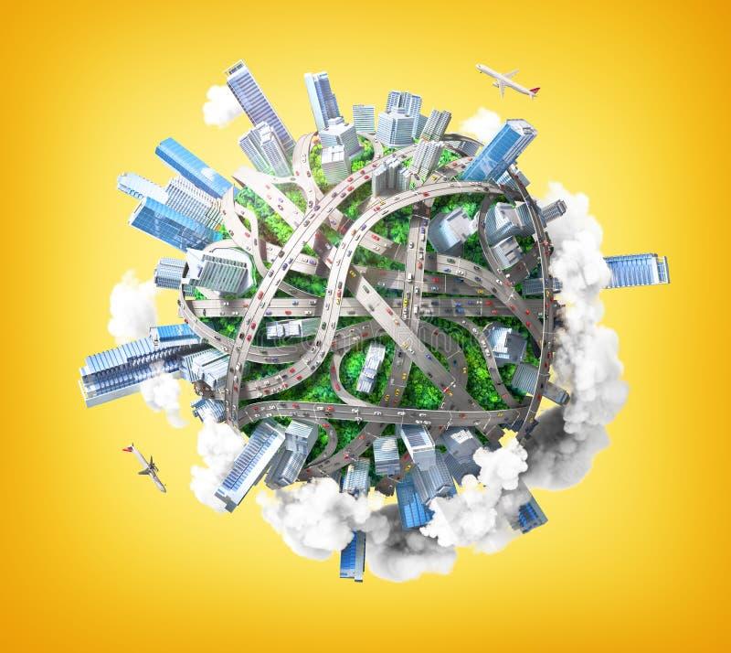 Eco市 作为概念的行星为混乱都市生活 库存例证