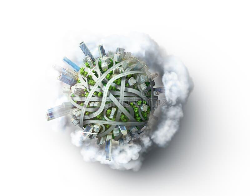 Eco市 作为概念的行星为混乱都市生活 向量例证