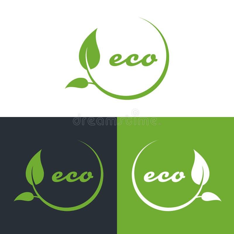 Eco或生物友好的公司商标,绿色离开 库存例证
