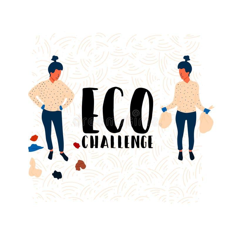Eco挑战在垃圾附近的女孩身分 库存例证