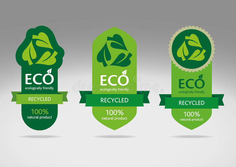 eco标签回收集 向量例证