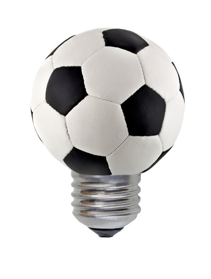 Eco概念皮革足球电灯泡 图库摄影