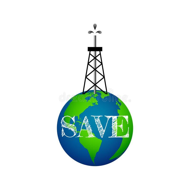 Eco概念,地球上的井架 向量例证