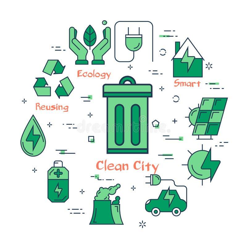 Eco概念-干净的城市 皇族释放例证