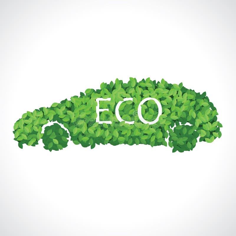 Eco汽车由绿色叶子制成 皇族释放例证