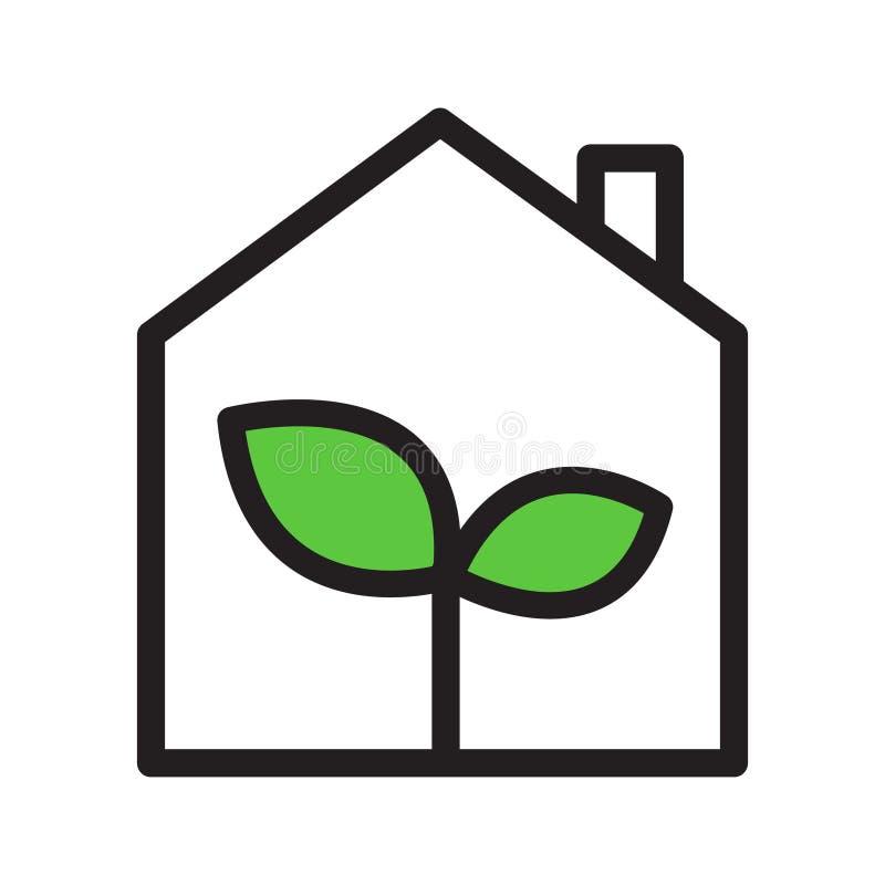 Eco温室简单的概述传染媒介象,黑与绿色地方教育局 皇族释放例证