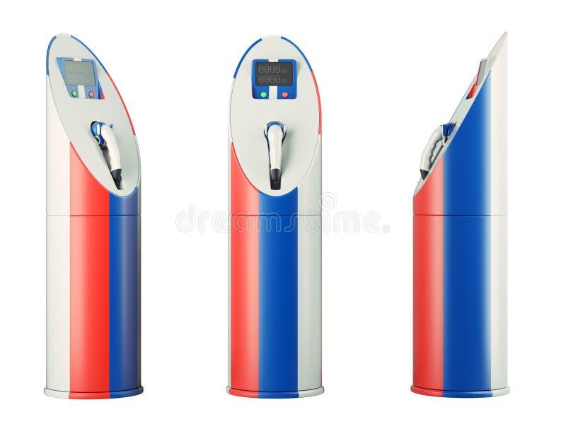 Eco燃料:与俄国旗子样式的被隔绝的充电站 库存例证