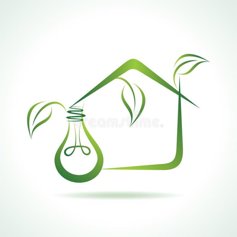 Eco电灯泡做一个eco家 向量例证