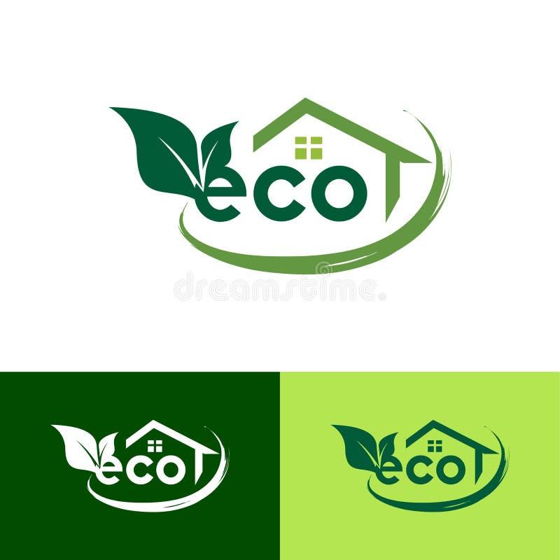 Eco绿色叶子议院商标设计模板-传染媒介 皇族释放例证