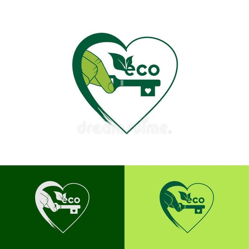 Eco绿色心脏商标设计模板-传染媒介 向量例证