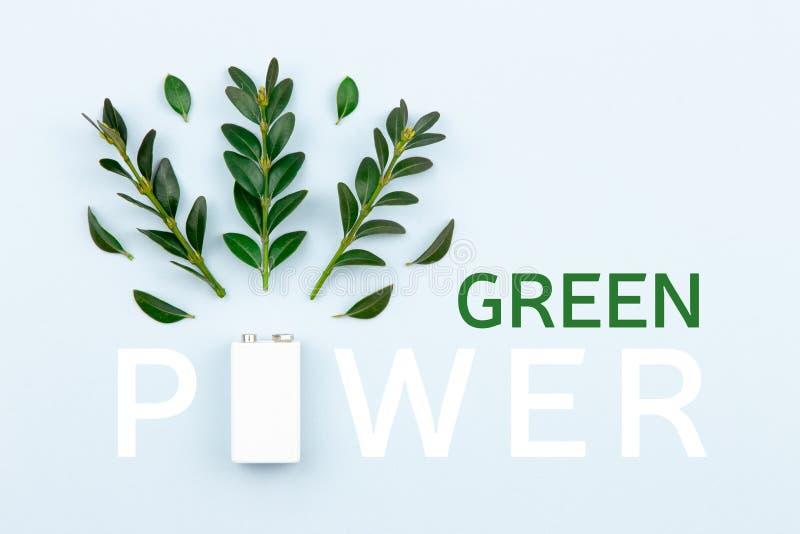 Eco能量和'金钱的力量'与一个白色电池和小树枝叶子的文本例证在与拷贝空间的轻的背景为 免版税库存照片