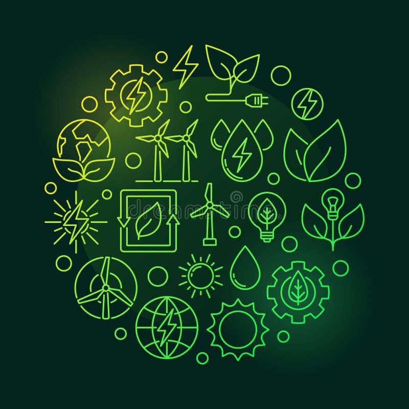 Eco能量圆的绿色例证 皇族释放例证