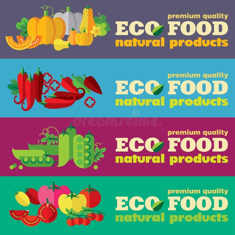 Eco被设置的食物横幅(+EPS 10) 向量例证