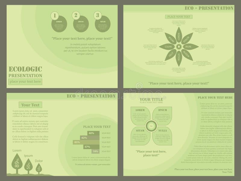 Eco设计淡色绿色卡其色的花卉介绍集合传染媒介 向量例证