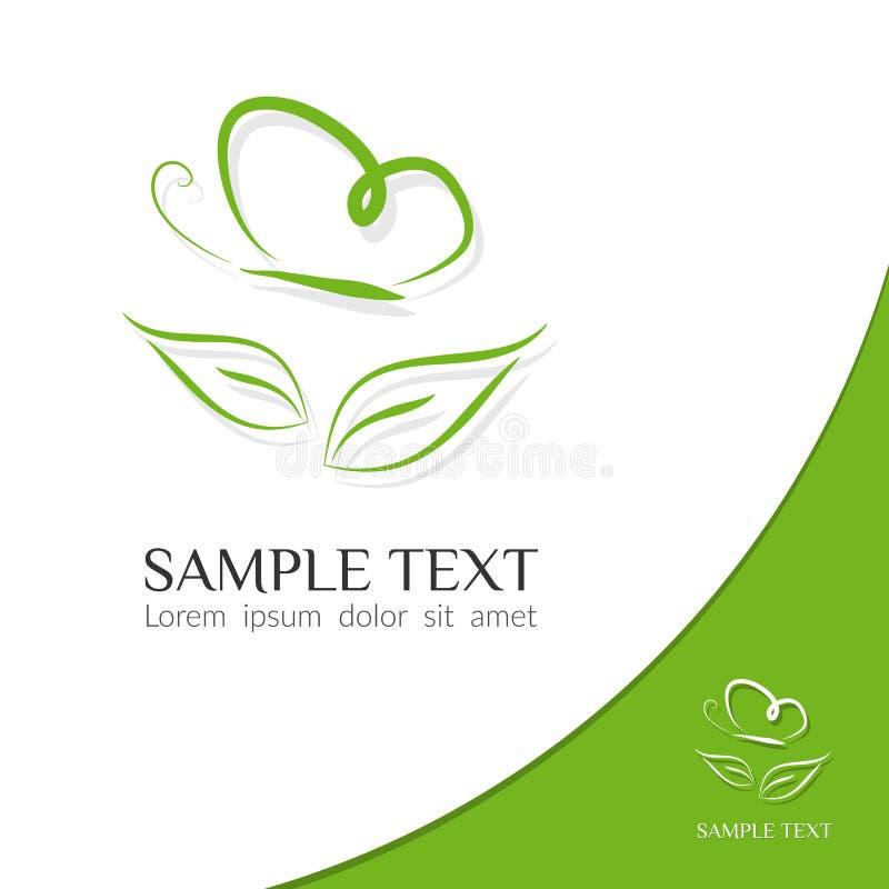 Eco象绿色蝴蝶一只蝴蝶的剪影的标志线在一片叶子的在一个轻的背景现代图形设计商标 向量例证
