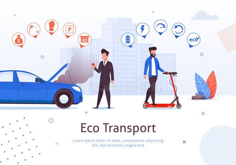 Eco运输电滑行车汽油汽车问题 向量例证
