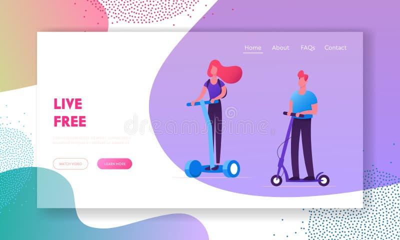 Eco运输网站着陆页 乘坐现代运输者Hoverboard或自平衡板,电单轮脚踏车的人们 向量例证
