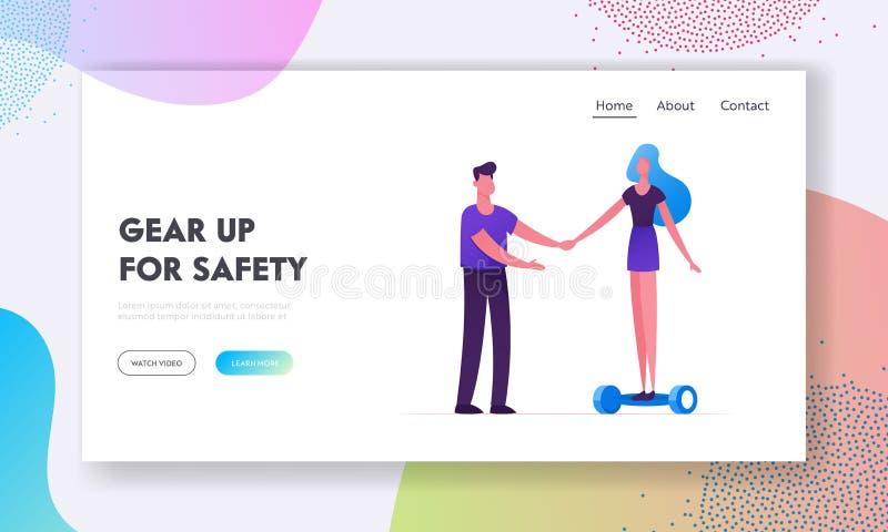 Eco运输网站着陆页 设法的妇女乘坐现代电Hoverboard或自平衡的委员会 库存例证
