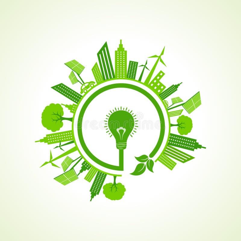 Eco都市风景witheco电灯泡 库存例证