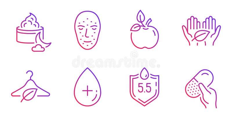Eco食物、缓慢的时尚和面孔生物测定学象集合 酸碱度中立,公平交易和晚霜标志 ?? 皇族释放例证