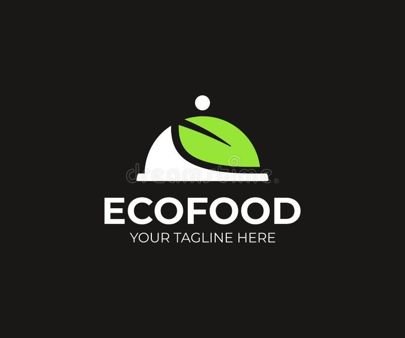 Eco食物交付商标模板 有盖子的盘子和绿色叶子传染媒介设计 皇族释放例证