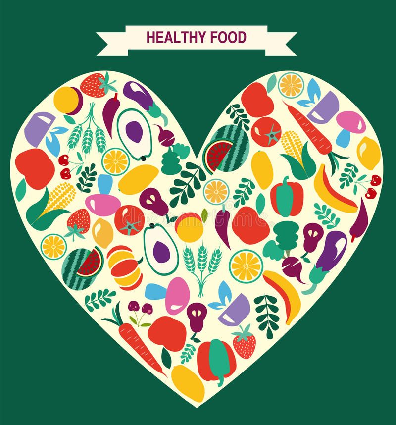 Eco食物象设置了蔬菜和水果 向量例证