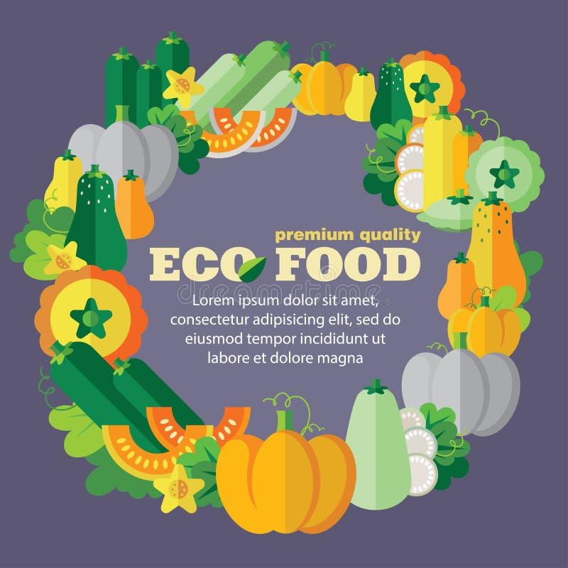 Eco食物(菜,南瓜家庭) + EPS 10 皇族释放例证
